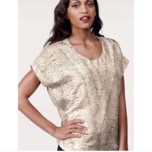 CABI | Beige Lace Print Silk Dolman Sleeve Top